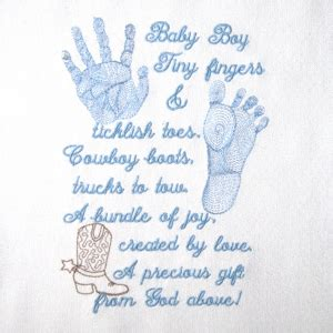 monogram photo album baby footprint handprint realistic boy poem embroidery design