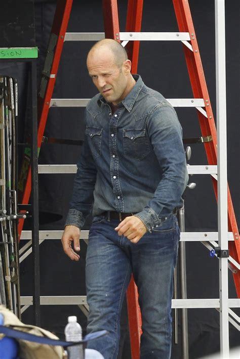 jason statham wearing rrl denim western shirt   set