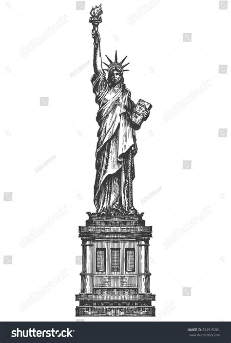 Statue Of Liberty Drawing Template by Statue Liberty Logo Design Template America Stock Vector