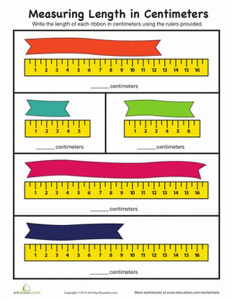 Measuring Length In Centimeters  Worksheet Educationcom