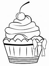 Cupcake Coloring Pages Cupcakes Colouring Printable Cake Sheet Cup Sheets Drawing Drawings Cute Pattern Birthday Outline Cakes sketch template