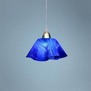 Jezebel radiance lily cobalt navy blue glass pendant light