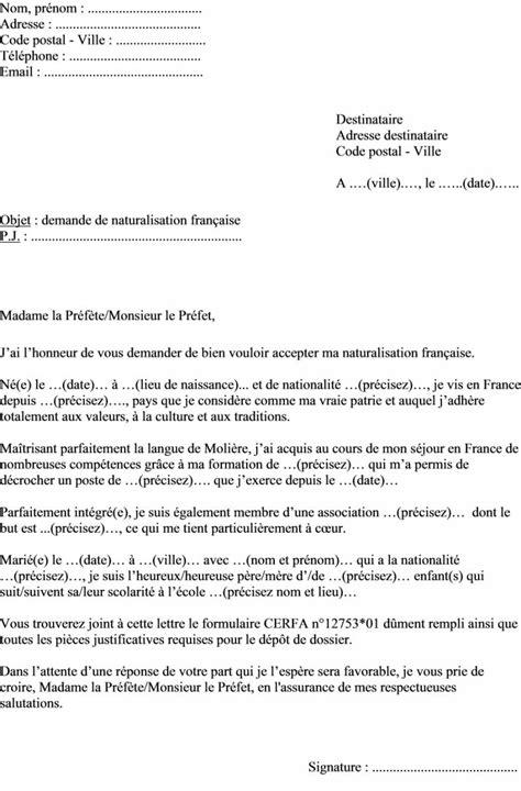 bureau de nationalité française modele lettre de motivation naturalisation
