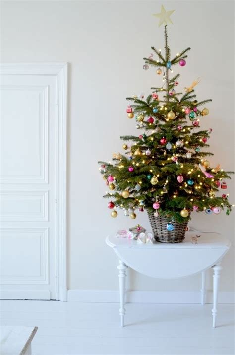 decorating a small christmas tree 44 space saving christmas trees for small spaces digsdigs
