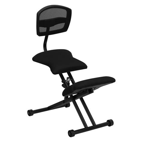 flash ergonomic kneeling chair with black mesh back and