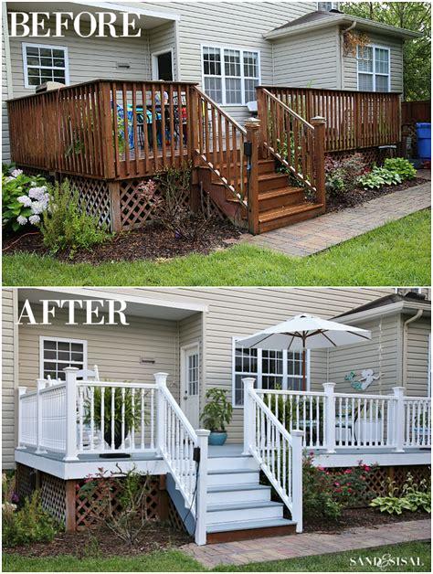 diy deck remodel deck stain vinyl railings