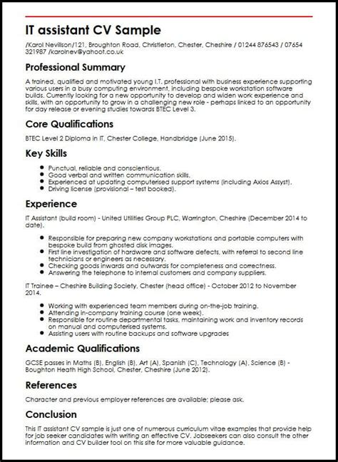 Exle Of A Written Cv Application by It Assistant Cv Sle Myperfectcv