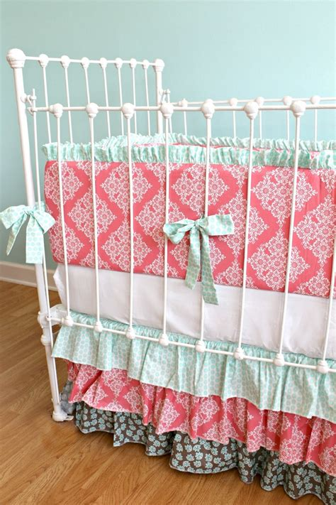 Coral And Mint Crib Bedding by 1000 Images About Baby Time On Baby