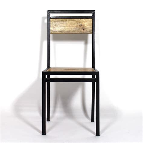 cuisine ilot central table chaise industrielle métal et bois de manguier made in