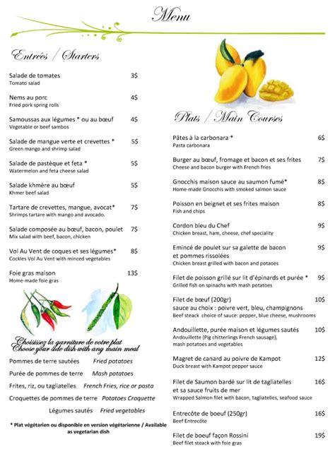 Menu Carte Restaurant Anglais by Restaurant Au Cabaret Vert