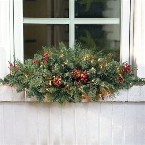 christmas window swags classic pre lit window christmas swag frontgate christmas decor traditional holiday