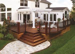 Wood Deck Pergola Paver Walkway Archadeck Front Porch Ideas Style For Ranch Home