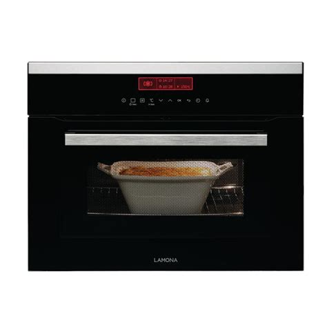lamona touch control integrated combination microwave stainless steel  black howdens