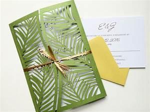 Laser cut palm leaf tree wedding invitation gatefold style for Laser cut palm tree wedding invitations