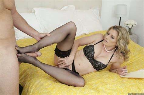 Cory Chase in black stockings enjoying huge cock in her pussy - My Pornstar Book