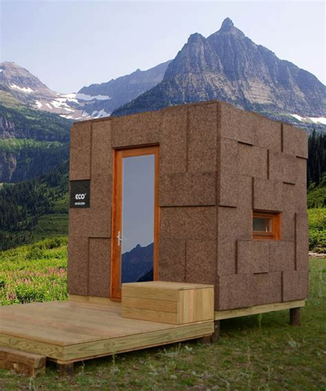 ecocubo is a cork micro house that adapts to various uses