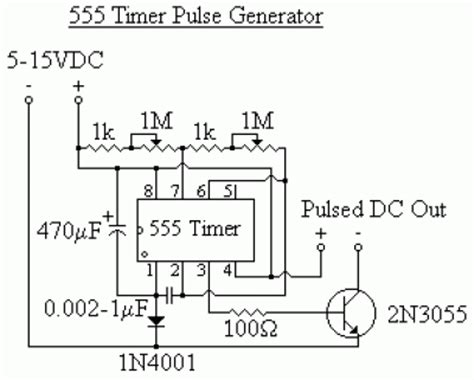 555 timer pulse generator electronics projects