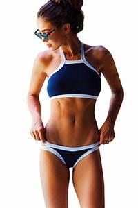 Womens Sexy High Neck Halter Crop Top Bikini Swimwear Navy