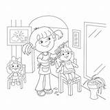 Barber Coloring Outline Pages Playing Cartoon Drawing Comb Scissors Printable Scissor Dolls Line Getcolorings Kid Template sketch template