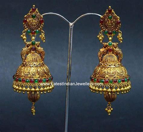 lakshmi kasu design gold jhumkas latest indian jewellery