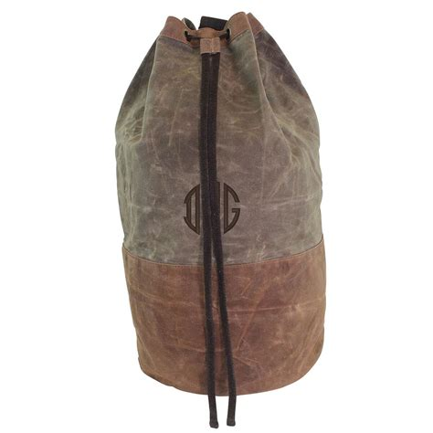 monogrammed waxed canvas laundry bag tote college graduation duffel