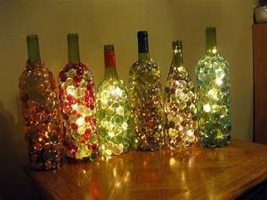 DIY Decorated Wine Bottles Christmas Decor