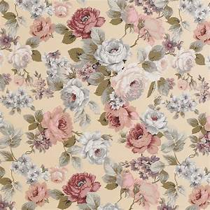 CANVAS COTTON UPHOLSTERY CURTAIN FABRIC VINTAGE FLORAL | eBay