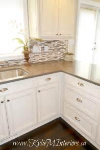 Small Tile Backsplash In Kitchen Kitchen And Glazed Cabinets Small Mosaic Tile Backsplash And Wood Floors