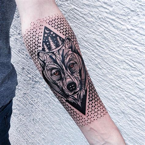 neo traditional style colored arm tattoo  wolf head