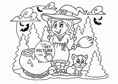 Halloween Coloring Witch Pages Cat Printable Candy