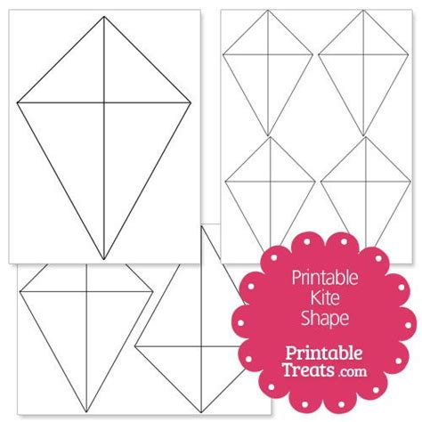 printable kite shape template letter  kite template