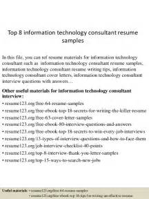 resume information technology consultant top 8 information technology consultant resume sles