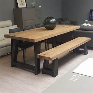 zeus wood metal dining table scott doesn39t like the With dining room table bench seats