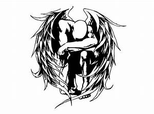 Tribal Angel Sticker. Awesome Tattoo Style Angel Decal.