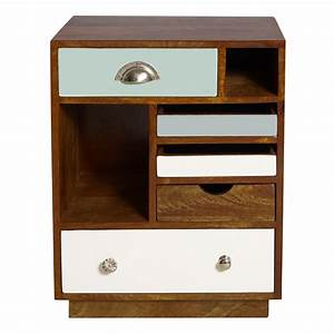 Affordable Rustic White And Brown Woodem Bedside Table