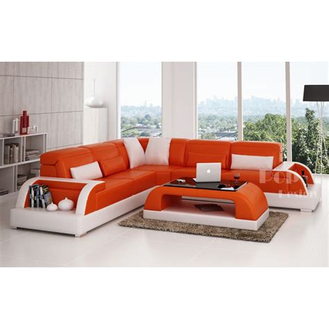 canap cuir orange canapé d 39 angle design en cuir bolzano l pop design fr