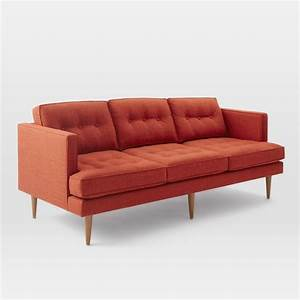 Peggy sofa heathered weave cayenne midcentury sofas for West elm peggy sectional sofa