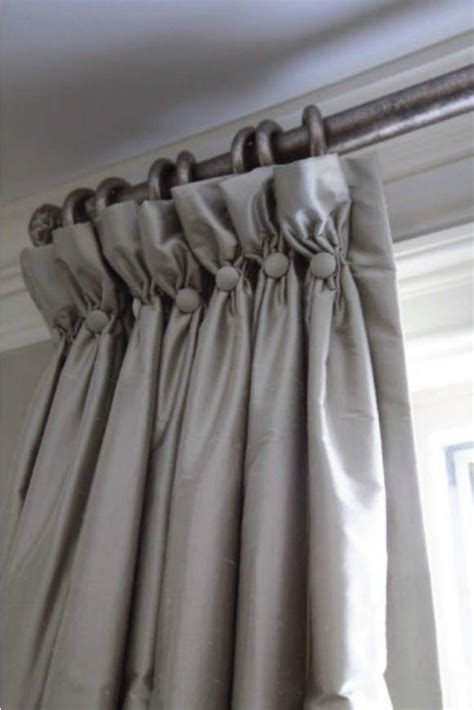 grey curtains  soft goblet pleat heading  button