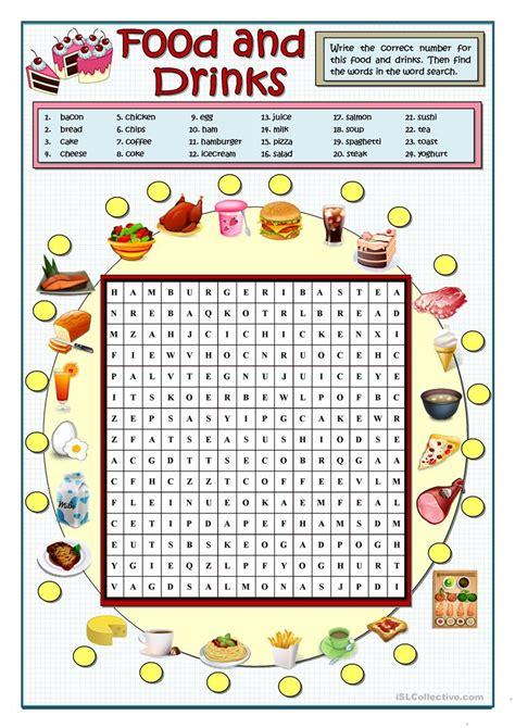 food and drinks wordsearch worksheet free esl printable