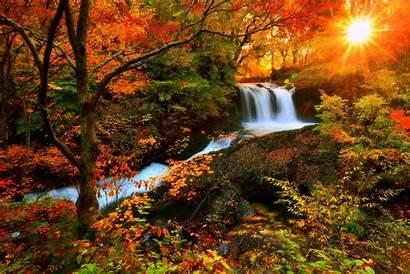 Fall Season Autumn Waterfalls Seasons Natural Sunlight