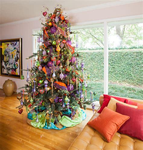 splashy burlap christmas tree skirt in living room