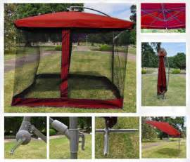 red 9 x 9 square offset patio umbrella w netting ebay