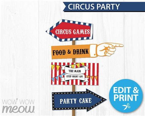 Circus Signs Template by Circus Signs Instant Direction Arrow