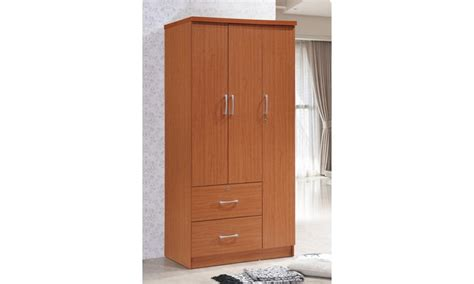 Clothes Armoire With Drawers by Hodedah 3 Door Armoire With 2 Drawers Clothing Rod And 3