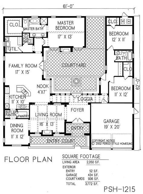 courtyard home plans courtyard house plans home decor