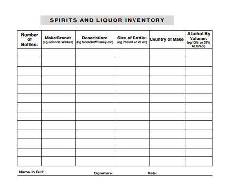 sample liquor inventory templates   excel