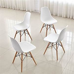 Dining chairs furniturer set of 4 dinning chairs eames for Deco cuisine avec chaise cuir