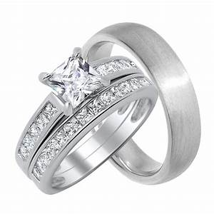 cz wedding ring sets engagement rings matching his her With his her wedding ring sets