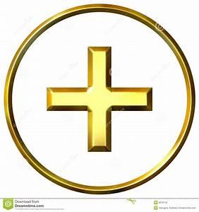 3D Golden Positive Energy Symbol Stock Illustration ...