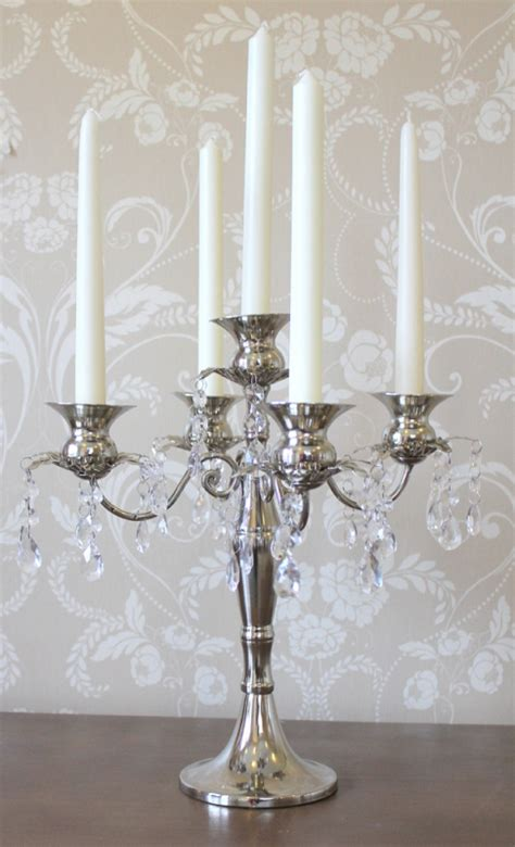 candelabra silver candle holder chandelier trim wedding